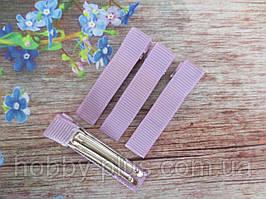 Металлическая заколка с репсовой лентой, 5 см., цвет СИРЕНЕВЫЙ