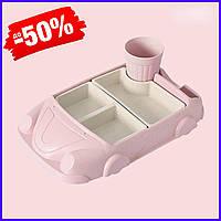 Набор бамбуковой посуды Машинка для детей, детская бамбуковая посуда из 2-х тарелок и чашки BP19 Car Pink