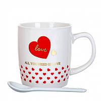 """Керамическая чашка серии """"Сердце с любовью"""" 200 мл  (4 вида) в подарочной упаковке, фото 1"""