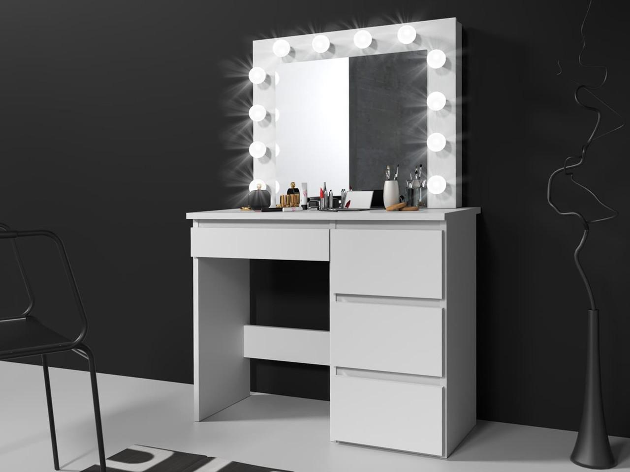 Туалетный столик c зеркалом и подсветкой Homart 12 LED белый (9281)