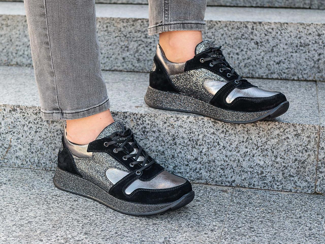 Кроссовки женские осенние  модные кожаные   36,41 черный
