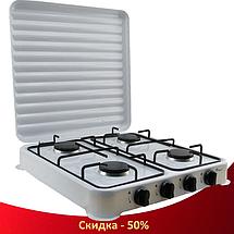 Газова плита настільна таганок Domotec MS-6604 на 4 конфорки (Біла з кришкою), фото 2