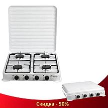 Газова плита настільна таганок Domotec MS-6604 на 4 конфорки (Біла з кришкою), фото 3