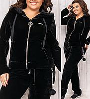 Велюровый зимний теплый спортивный женский костюм пр-во Турция чёрный батальный № 8887