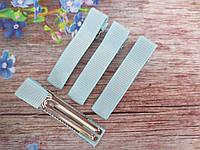 Металлическая заколка с репсовой лентой, 5 см., цвет ГОЛУБОЙ
