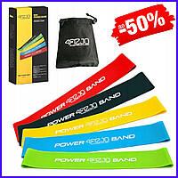 Набор фитнес резинок 4FIZJO Mini Power Band для тренировок 5 шт., эспандер ленточный петля эластичный 4FJ1110