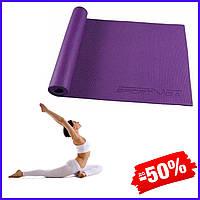 Гимнастический коврик йога мат SportVida Pvc 6 мм SV-HK0052 Violet для фитнеса, йоги, пилатеса и аэробики
