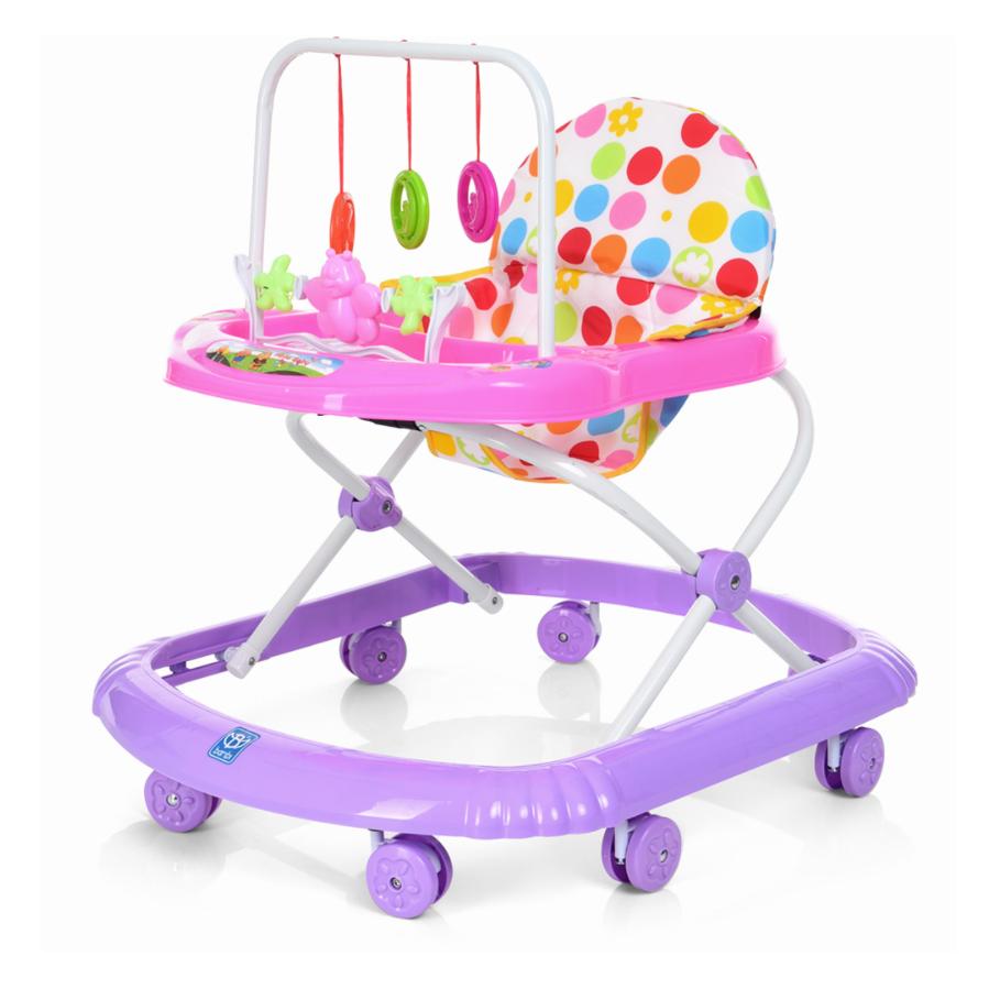 Детские Ходунки с подвесными игрушками Розовый с фиолетовым M0591-2