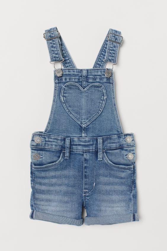 Джинсовые шорты с вышивкой и рваным низом НМ для девочки
