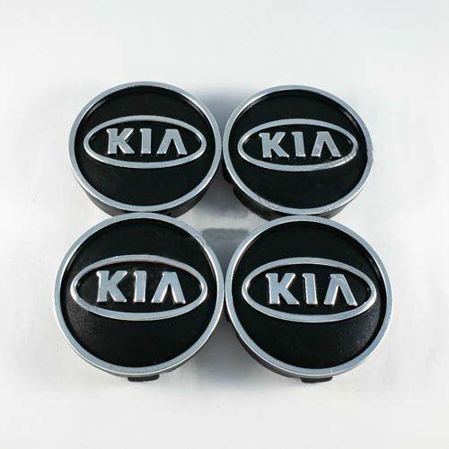 Колпачки в легкосплавные диски Kia черные/хром лого (60 мм)