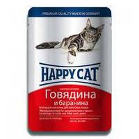 Happy cat кусочки в соусе с говядиной и бараниной 100 г