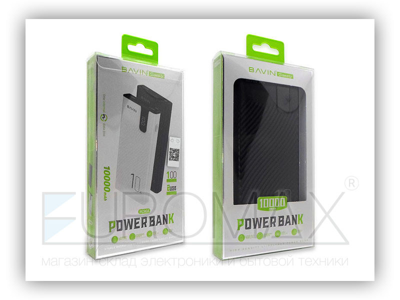 Внешний аккумулятор (power bank) BAVIN 10000мАч 30шт PC090S