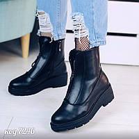 Зимние черные ботинки на молнии спереди и сбоку внутри с искусственным мехом (2А), фото 1