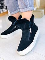 Черные ботинки из натуральной замши с натуральной опушкой на замочках (12А), фото 1