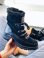 Зимние ботиночки черного цвета из эко-кожи + экозамши, сбоку рабочая молния(7А), фото 1