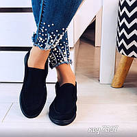 Короткие легкие ботинки из эко-замши черного цвета (11В), фото 1
