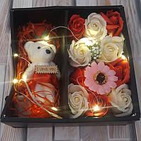 Подарочная коробка с розами из мыла и мишкой лучший подарок девушке жене любимой маме (Реальные фото)