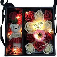 Мыло в форме роз мишка Led подсветка Оригинальный подарок любимому человеку девушке маме жене (Реальные фото!)
