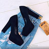 Черные туфли из эко-замши на устойчивом каблуке(7В), фото 1