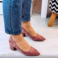 Розово-бежевые туфли из эко-замши на небольшом широком каблуке, фото 1