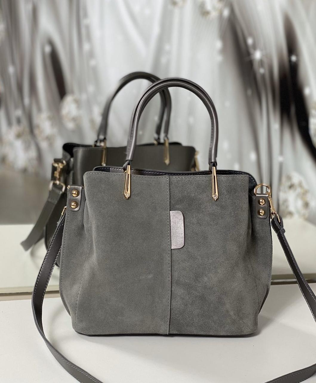Сумочка женская серая женская замшевая сумка классическая небольшая на плечо замша+экокожа