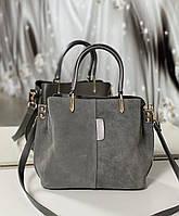 Сумочка женская серая женская замшевая сумка классическая небольшая на плечо замша+экокожа, фото 1