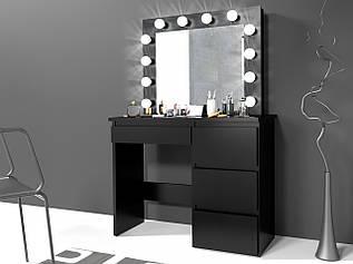 Туалетний столик із дзеркалом та підсвічуванням Homart 12 LED чорний (9282)