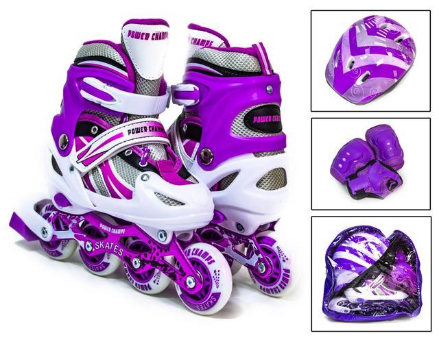 Комплект роликом детский Power Champs фиолетовый с защитой и шлемом Холодное сердце, размер 29-33