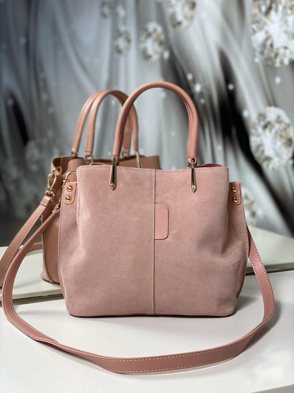 Сумочка женская небольшая замшевая сумка классическая на плечо пудра замша+экокожа