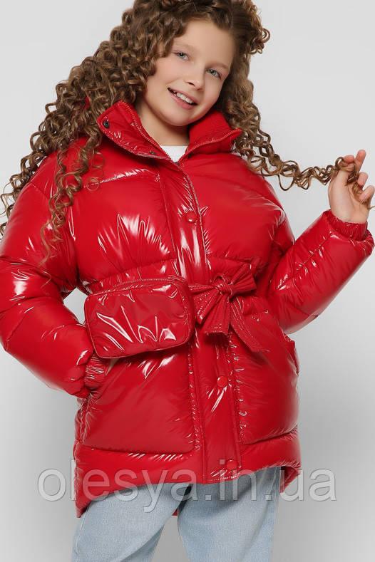 Лаковая зимняя куртка для девочек с сумочкой X-Woyz 8300 размеры 38