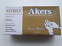 Нитриловые перчатки  XL синие AKERS 100 шт, фото 1