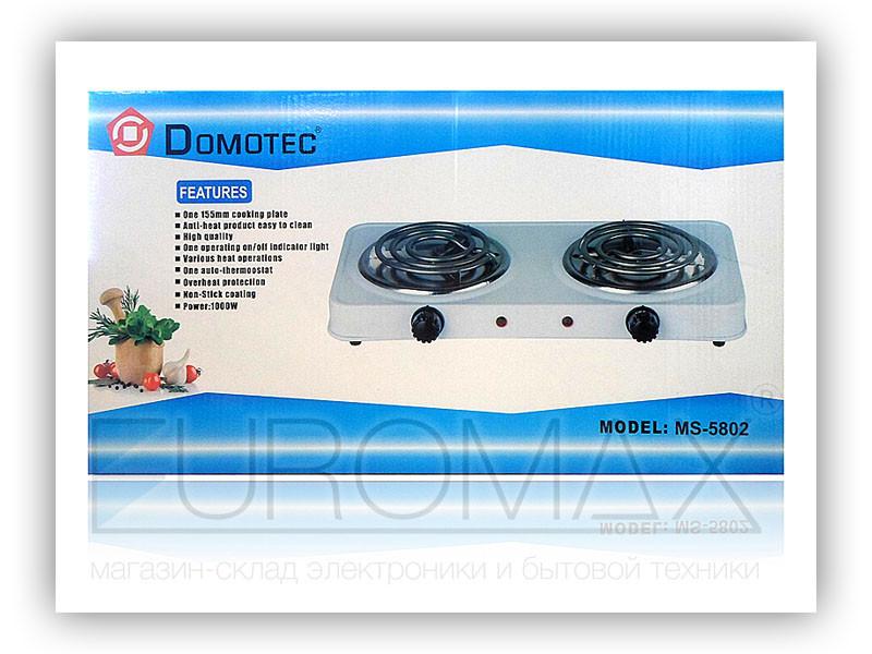 Электроплита 2 спирали Domotec 5802