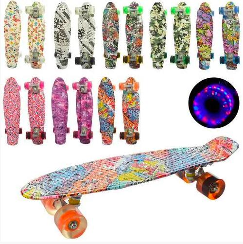 Скейт (пенни борд) Penny board со светящимися колесами разные цвета