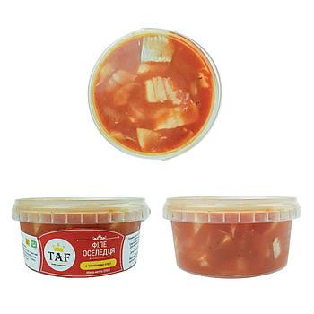 Сельдь кусочки в томатном соусе. Цена указана за ведро 0,5 кг.