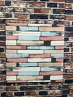 Панель стінова 3D 700х700х5мм дерево MIX