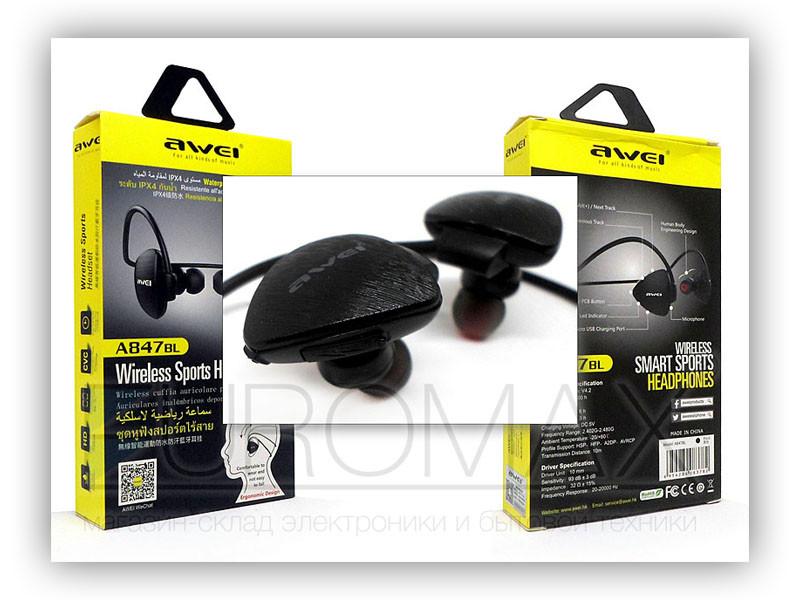 Наушники вакуумные с микрофоном Bluetooth AWEI A847BL-BT