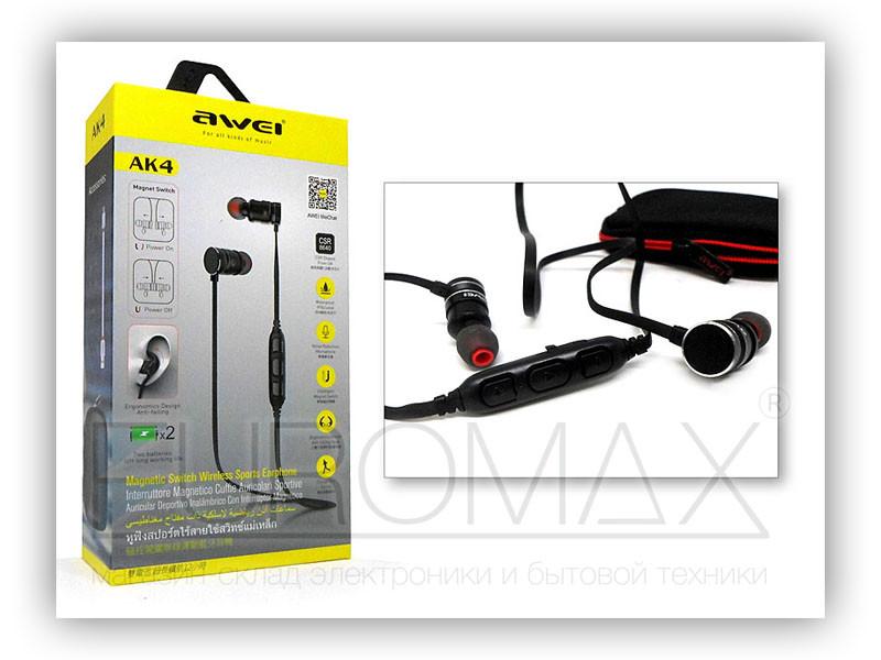 Наушники вакуумные с микрофоном Bluetooth AWEI AK4-BT