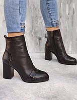 Крутые высокие ботинки на высоком каблуке 8,5см со вставками из кожи под рептилию, размеры 36-40