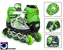 + ПОДАРОК Комплект детских роликов с защитой и шлемом Happy. Зелёный комплект. Размеры 29-33, 34-38
