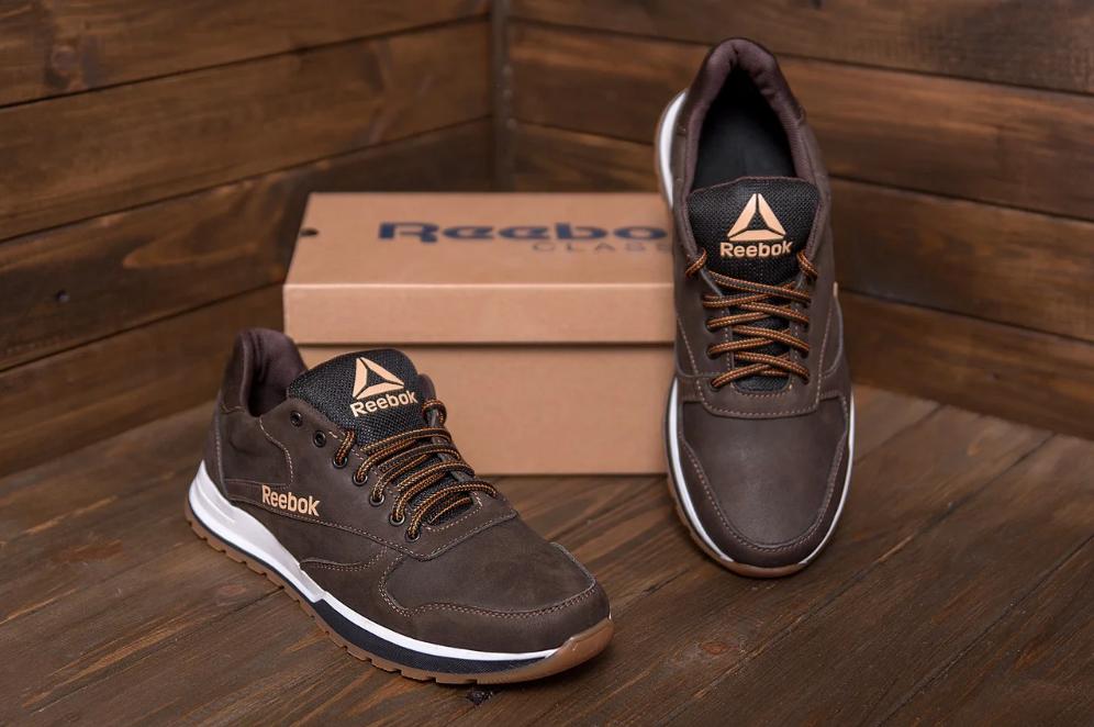 Мужские кожаные кроссовки  Reebok Classic Leather Trail Chocolate реплика
