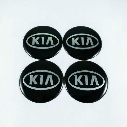 Наклейки для колесных колпачков в легкосплавные диски с логотипом   Kia черные/хром овал лого (65 мм)