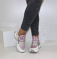 Женские кроссовки белого цвета с розовым YIMEILI