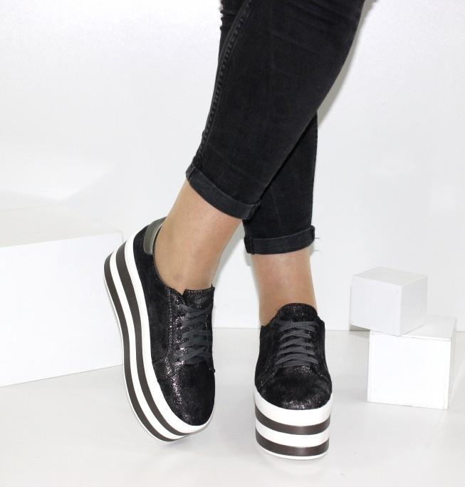 Женские кроссовки на платформе Криперы графитового цвета