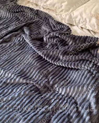 Велюровое покрывало плед Полоска Шарпей Полуторное 150х200, фото 2