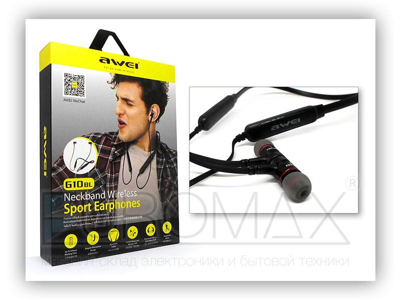 Наушники вакуумные с микрофоном Bluetooth магнит AWEI G10BL-BT