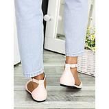 Туфлі, босоніжки жіночі пудрові натуральна шкіра, фото 3