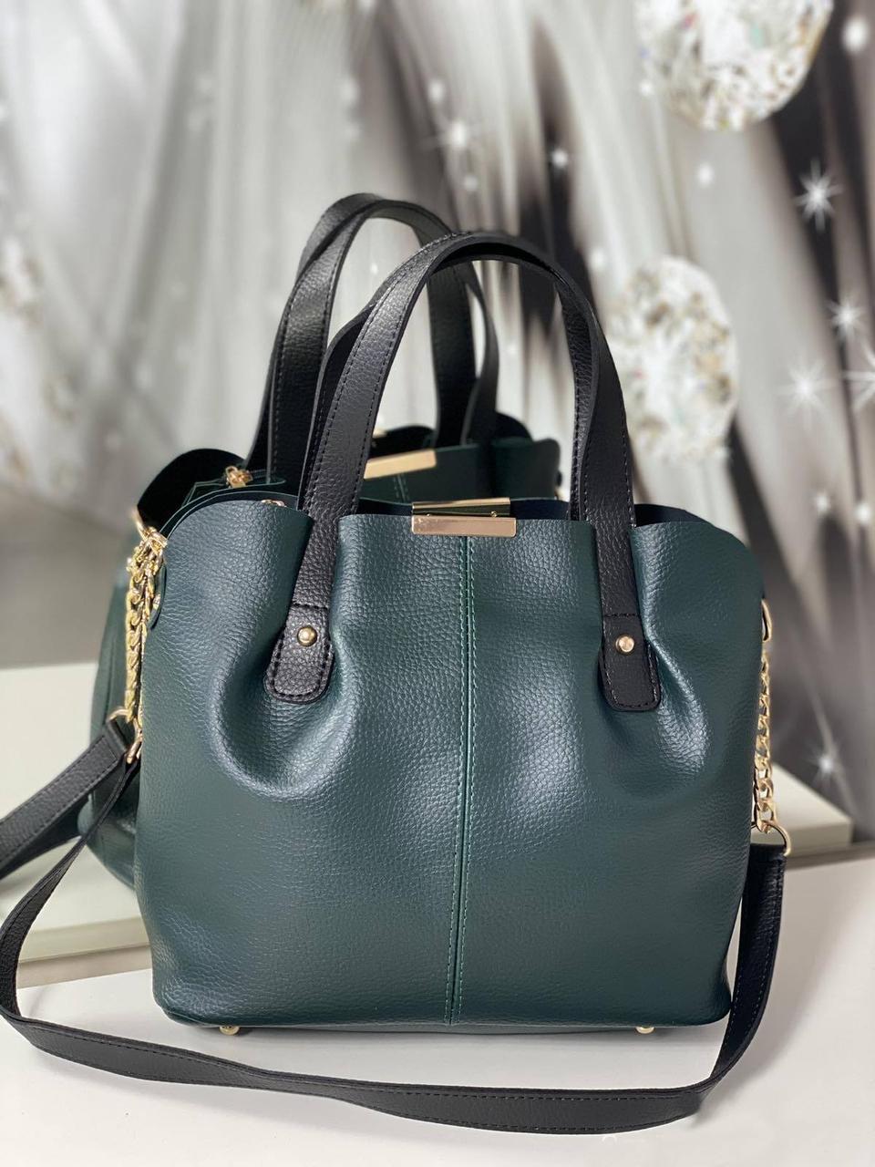 Сумка зеленая женская вместительная шоппер на плечо классическая кожзам