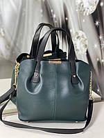 Сумка зеленая женская вместительная шоппер на плечо классическая кожзам, фото 1