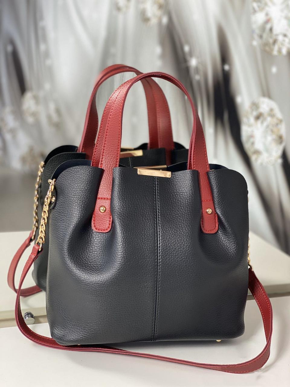 Сумка черная женская вместительная шоппер красные ручки кожзам