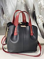 Сумка черная женская вместительная шоппер красные ручки кожзам, фото 1
